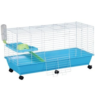 "PawHut 40"" Steel Plastic Small Animal Pet Cage Kit with Wheels"
