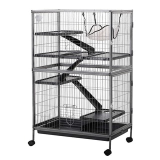 "PawHut 50"" 4 Tier Steel Plastic Small Animal Pet Cage Kit with Wheels"