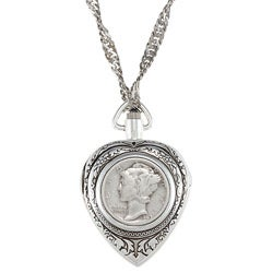 American Coin Treasures Silver Mercury Dime Heart Pendant Watch