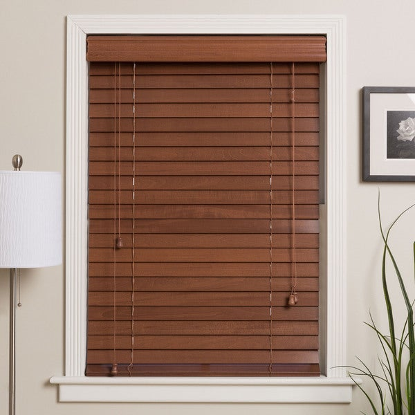 Customized 65-inch Real Wood Window Blinds (As Is Item)