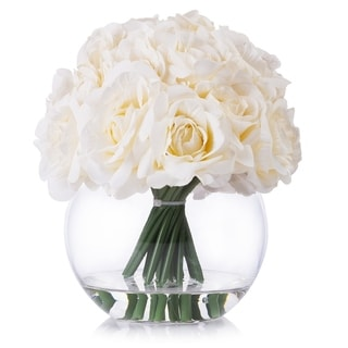 Enova Home 21 Heads Rose Silk Flower Arrangement in Round Clear Glass Vase with Faux Water