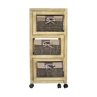 International Caravan 3-drawer 'Natural Burned' Expandable Chest