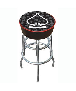 Spades of Poker 30-inch Vinyl Padded Chrome Adjustable Bar Stool