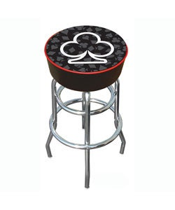 Clubs of Poker Padded Chrome Pub-style Bar Stool - with Vinyl Seat