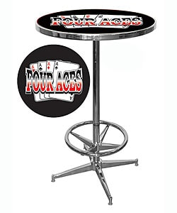 Four Aces Chrome Pub Table with 42-inch Base and 28-inch Diameter