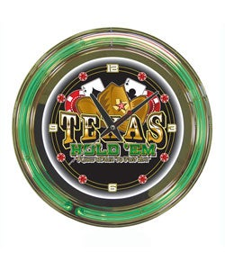 Texas Hold 'em double ring 14 inch Neon Clock