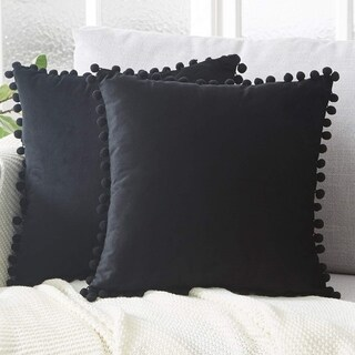 "Pack of 2 Velvet Solid with Pom Poms Throw Pillow Case Black 18"" x 18"""