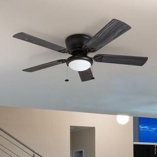 Prominence Home Benton Hugger Ceiling Fan, Low-Profile, LED Cased White Bowl, Matte Black - 52-inch