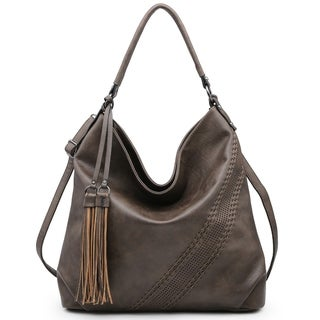 Soft Water Wash Faux Leather Tassel Detailed Hobo Bag with Diagonal Stitching Decoration