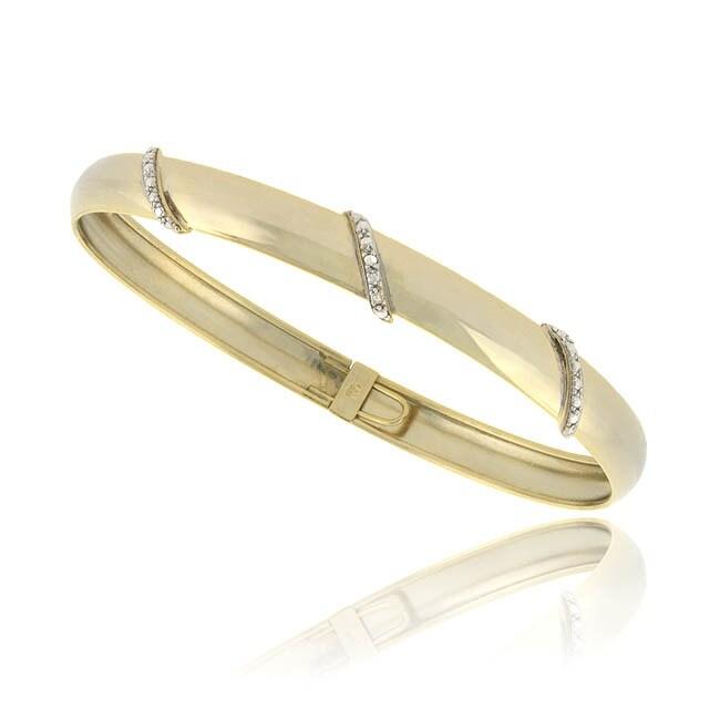 DB Designs 18k Gold Over Silver Diamond Accent Flex Bangle