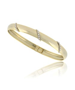 DB Designs 18k Gold Over Silver Diamond Accent Flex Bangle