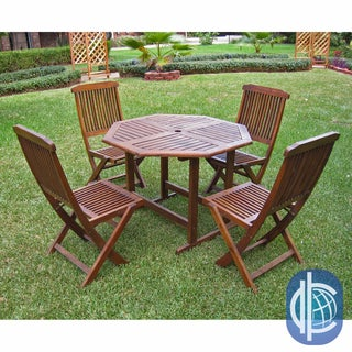 International Caravan Acacia 5-piece Stowaway Patio Furniture Set
