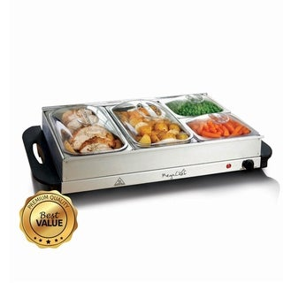MegaChef Buffet Server & Food Warmer with 4 Sectional Trays