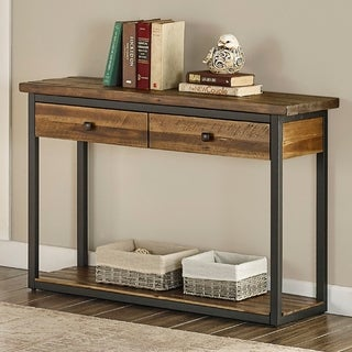 Carbon Loft Ciaravino 43-inch Rustic Wood Console Table w/ 2 Drawers and 1 Shelf