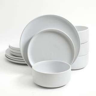 Gibson Home Stone Lava 12-Piece Dinnerware Set, Matte White