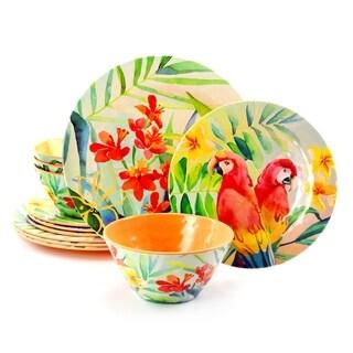 Gibson Home Tropical Parrot 12 Piece Melamine Dinnerware Set