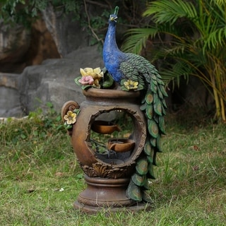Peacock and Pot Polyresin Fountain with LED Lights