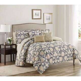 Alexandra Gold/Creme Jacobean FloralVine Print 10-Piece Bed in a Bag Set