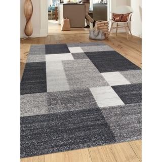 """Grey Modern Boxes Design Non-slip Non-skid Area Rug - 6'6""""x9'"""