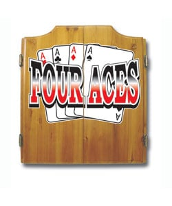 Four Aces Wood Dart Cabinet Set w/ Darts and Board