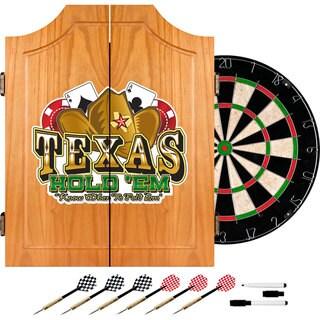 Texas Hold 'em Dart Cabinet Set w/ Darts and Board