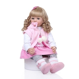 "24"" Beautiful Simulation Baby Golden Curly Girl Wearing Pink Clothes Doll"