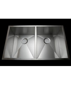 Stainless Steel 33-inch Double Bowl Under-mount Sink