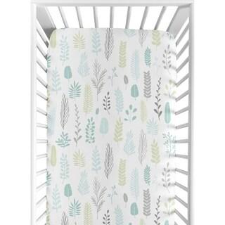 Sweet Jojo Designs Blue Grey Tropical Leaf Unisex Boy or Girl Fitted Crib Sheet - Turquoise Gray Green Rainforest Jungle Sloth