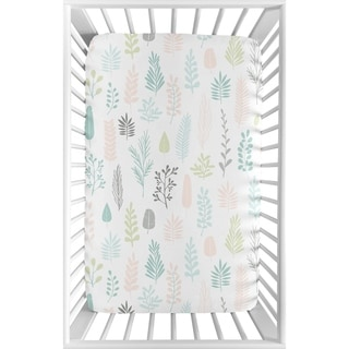 Sweet Jojo Designs Pink Grey Tropical Leaf Fitted Mini Portable Crib Sheet For Mini Crib - Blush Turquoise Green Jungle Sloth
