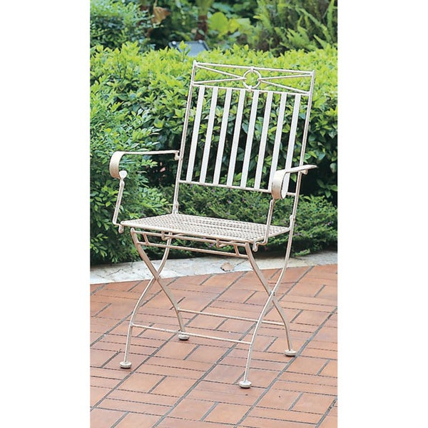 International Caravan Iron Folding Chair with Arms (Set of 2)