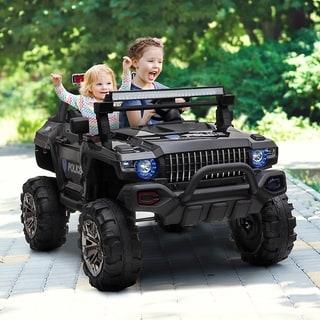Aosom 12V Ride On Car 2- Seat SUV Truck w/ Remote Control, 3 Speeds, LED Light Bar, Audio Input