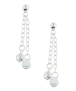 Sterling Essentials Sterling Silver Italian White Enamel Drop Earrings