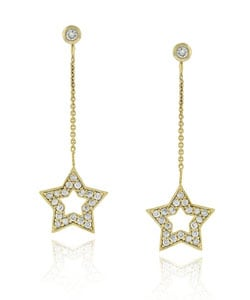 Icz Stonez 18k Gold over Silver CZ Star Dangle Earrings
