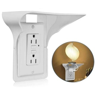 Wall Outlet Shelf - Space Saving with Cable Channel For Cords - Bathroom & Counter Top Socket Plug Shelf