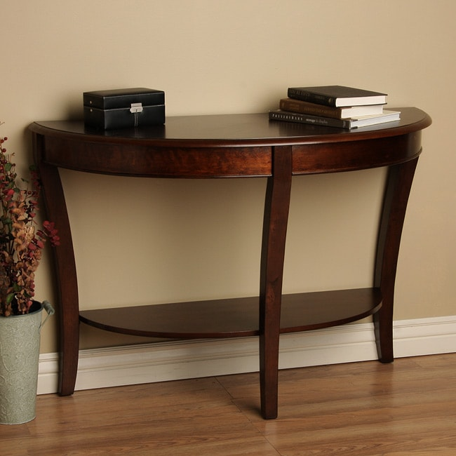Photograph new elegant half round sofa table rich walnut - Half table entryway ...