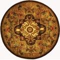 Safavieh Handmade Classic Royal Beige/ Olive Wool Rug (3'6 Round)