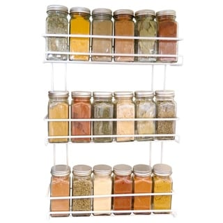 Evelots Spice Rack-3-Tier-Door/Wall Mounted-Coated Wire-Can Store 18 Bottles