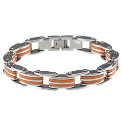 Stainless Steel Orange Rubber Bike Chain Bracelet