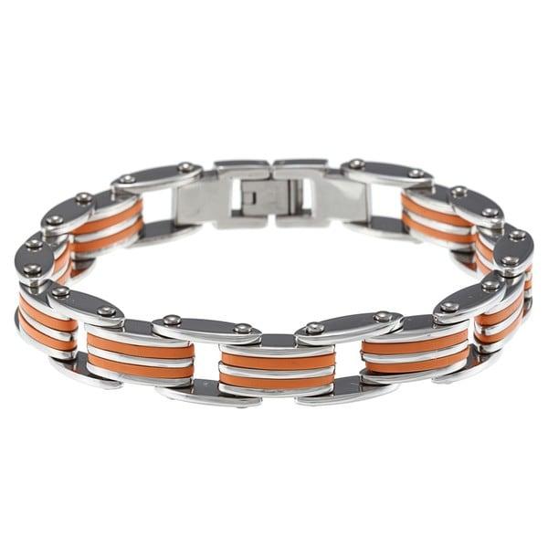 Stainless Steel Orange Rubber Bike Chain Bracelet