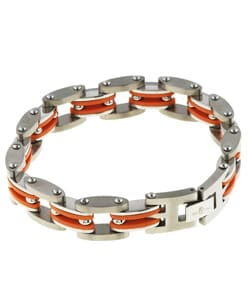 Stainless Steel and Orange Rubber Link Bracelet