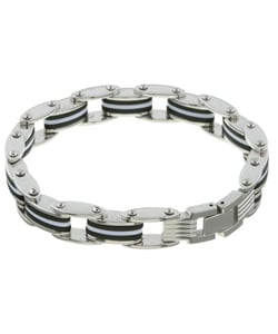 Stainless Steel Black and White Rubber Bracelet