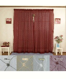Diamond Embroidered 84-inch Elegant Sheer Curtains