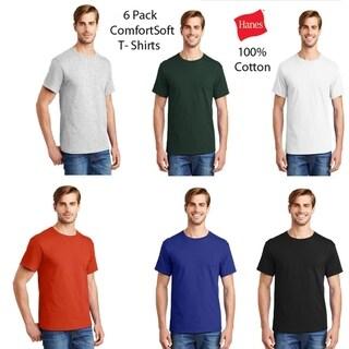 Hanes Mens (6 PACK) ComfortSoft 100% Cotton T, Assorted Colors