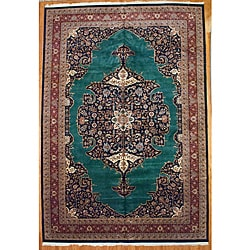 Indo Heriz Hand-knotted Green/ Red Rug (11'11 x 17'6)