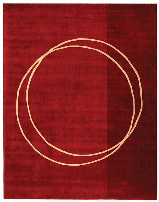 Safavieh Handmade Rodeo Drive Circle of Life Red/ Ivory N.Z. Wool Rug (7'6 x 9'6)