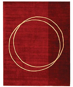 Handmade Rodeo Drive Circle of Life Red/ Ivory N.Z. Wool Rug (7'6 x 9'6)