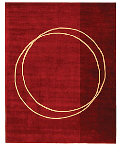 Safavieh Handmade Rodeo Drive Circle of Life Red/ Ivory N.Z. Wool Rug (7'6 x 9'6)