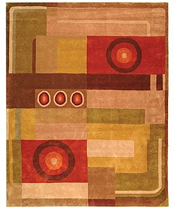 Handmade Rodeo Drive Forbes Khaki/ Rust N.Z. Wool Rug (7'6 x 9'6)