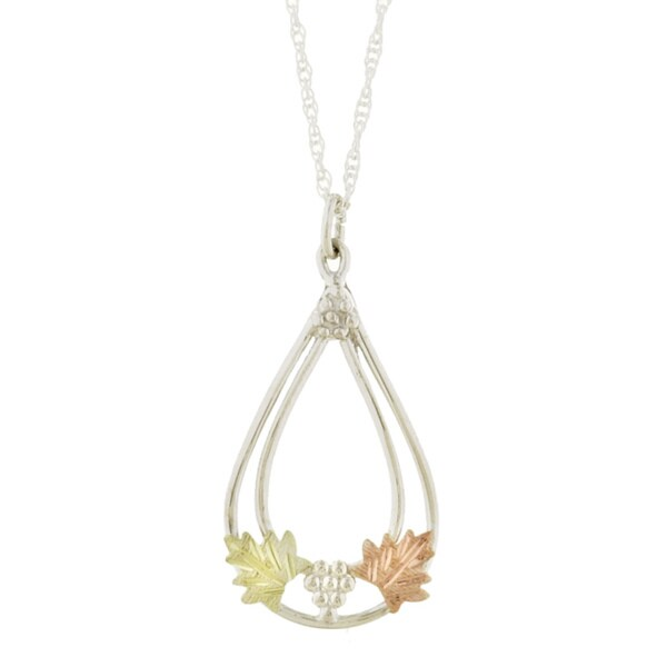 14k Black Hills Gold & Silver Teardrop Necklace