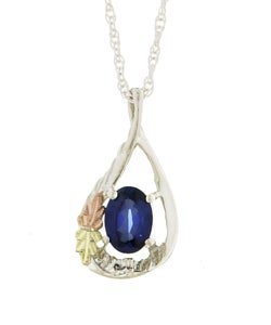 Black Hills Gold and Silver Created Sapphire Necklace